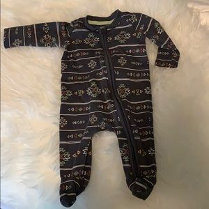 Baby Boys Long Sleeve Footed One-Piece